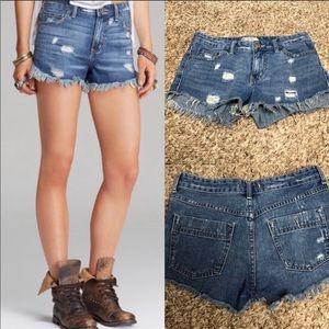 Free People destroy frayed cutoff jean shorts 1098